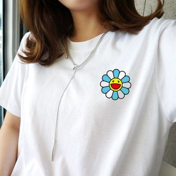 Fashion Casual Short Sleeve Print Flower Tee Top