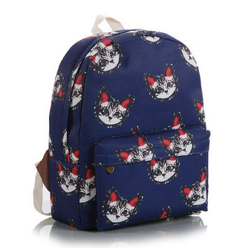 Striped Lovely Floral Korean Animal Stripes Canvas Cute Backpack = 4888024772