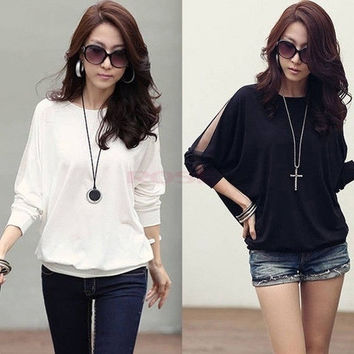 Women Sexy Lace Batwing Long Sleeve Loose T-Shirt Tops Blouse Pullover DZ88 3580 = 1946982660
