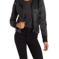 Black Faux Leather and Fleece Moto Jacket by Charlotte Russe