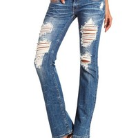 Machine Jeans Destroyed Bootcut Jean: Charlotte Russe