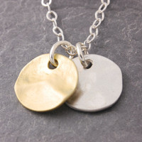 Gold and Silver Coin Necklace - love necklace, silver disk necklace, gold disc necklace, textured disc, couple necklace, minimalist, N17