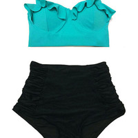 Mint Teal Midkini Top and Black Ruched High waisted waist Swimsuit Swimwear Bikini Bathing suit Beach Womenswear Outfit Beachwear S M L XL