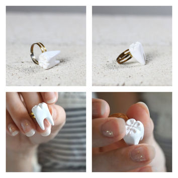 Tooth Ring - Handmade Tooth Ring - Polymer Clay Tooth Ring - Handmade Polymer Tooth Ring - Handmade Ring - Handmade Jewelry - White and Gold