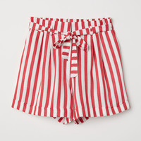 Striped shorts - Red/White striped - Ladies | H&M GB