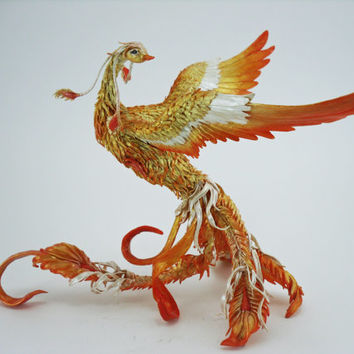 Phoenix bird  - original handmade OOAK, Statuette Fire bird Figurine Statue Figure Fantasy Bird Skulpture Gold Orange Red Yellow Creature