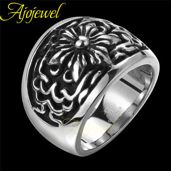 Size 8-11 New High Quality Western Fashion Jewelry Exaggerated Retro Pattern Men / Boys Punk Rings Titanium Steel Ring