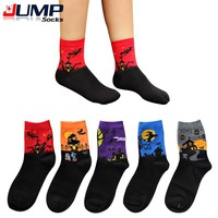 Funny Halloween gift Cartoon women socks bat Pumpkin Wizard Design high quality harajuku sock