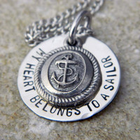 My Heart Belongs to a Sailor with Anchor Disc Charm by WireNWhimsy