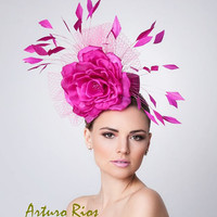 Hot Pink Fascinator, Cocktail Hat, Kentucky derby hat, Melbourne hats