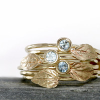 Aquamarine Leaf Ring in 14k Gold, Aquamarine Stacking Ring Set of Two, 14k Gold Stack Rings, thin hammered rings, 14k Leaf Ring Aquamarine