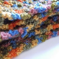Crocheted Chunky Multicolored Infinity Scarf Cowl by OneSClark