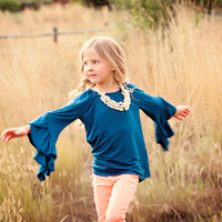 Teal 3/4 Ruffle Sleeve Tunic