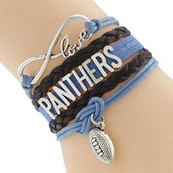 Infinity Love Carolina State Panthers Football Team Sport Bracelet Blue Black Sport Friendship Bracelets