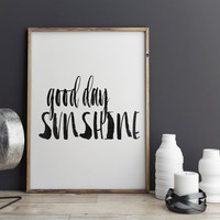 """PRINTABLE ART motivational print""""good day sunshine"""" watercolor painting style hand lettering dorm room decor gift idea instant download art"""