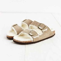Birkenstock Arizona Shearling Taupe Suede Sandal- Taupe