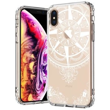 MOSNOVO Case for iPhone Xs/iPhone X, White Peace Mandala Floral Lace Clear Design Printed Transparent Plastic with Soft TPU Bumper Protective Back Phone Case Cover for Apple iPhone X/iPhone Xs