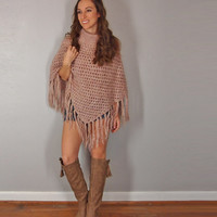 Blush Pink Poncho with Fringe, Crochet Knit Turtle Neck, Boho Hippie Shawl