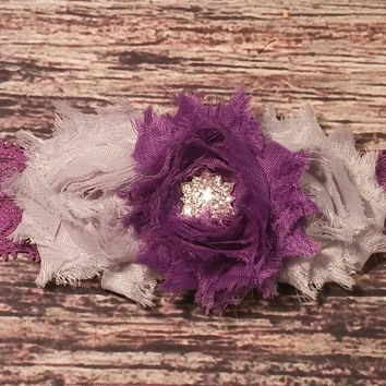 Fancy Purple and Grey Headband