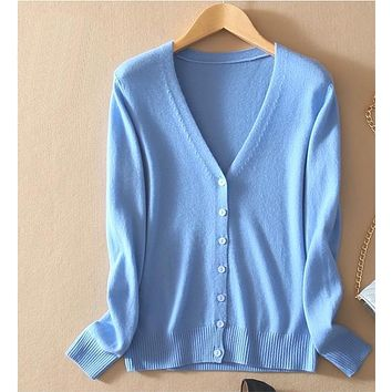 Women's Cashmere Autumn Winter V-Neck Cardigan Sweater Wool Elastic Sweaters Slim Tight Bottoming Knitted Cardigans
