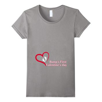 Bump's First Valentine's Day T-shirt Cute & Funny Pregnancy