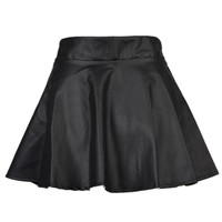 Black PU Mini Skater Skirt
