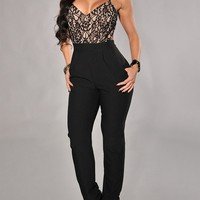 Sexy Womens Lace Top Open Back Party Jumpsuit Romper