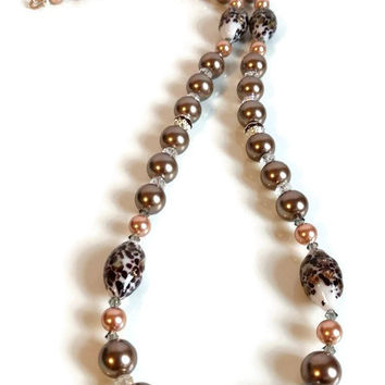 Chocolate Pearl Necklace Brown Copper South Sea Pearls Smokey Grey Swarovski Crystals Glass Blown Beads Evening Necklace Party Necklace