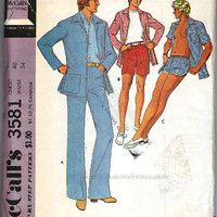 Mens Leisure Suit Pattern Patio Jacket, Pants, Shorts, Swim Trunks McCalls 3581 Vintage 1973 Sewing