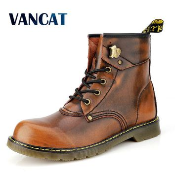 Vancat Brand Cowhide Split Autumn Winter Warm Fur Vintage Motorcycle Boots Male Martin Shoes Men Snow Ankle High Top Men's boots