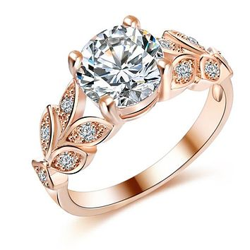Silver Color Crystal Flower Rings