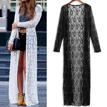 2018 Summer Plus Size 3XL 4XL 5XL Women Floral Lace Kimono Semi Sheer Solid Open Front Long Elegant Beach Cover Up Cardigan tops