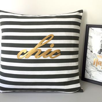 Handmade Gold Cursive Text Chic Decorative Black And White Stripes Pillow Cover. Modern Typo 17inch Pillow Case. New Home Throw Pillow