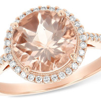 14K Rose Gold Morganite and Diamond Halo Ring