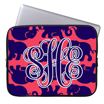 Cute Elephant Monogram Lilly pulitzer laptop sleeve,custom macbook air 13'',macbook pro 13'',macbook air,lilly pulitzer laptop sleeves