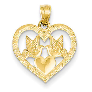 14k Two Doves In Heart Pendant D3832