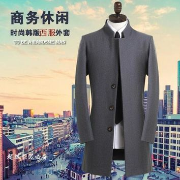 Stand collar grey casual suit medium-long wool coat men 2017 trench jackets and coats mens wool coat overcoats dress winter 9XL