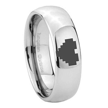8MM Classic Mirror Dome Zelda Heart Tungsten Carbide Silver Engraved Ring
