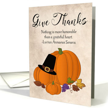Pumpkins with Leaves and Pilgrim Hat for Thanksgiving card
