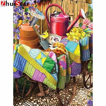 5D Diamond Painting Quilt Covered Potting Wagon Kit