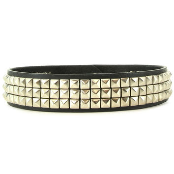 Triple Pyramid Studded Black Collar in L