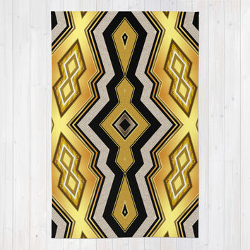Gold Black Art Decor Diamonds v1 Area & Throw Rug by Webgrrl | Society6