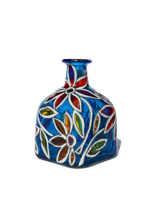 Hand painted glass patron bottle cobalt from for Hand painted bottles