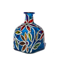 "Hand Painted Glass ""Patron"" bottle Cobalt Blue  Abstract Flowers Home Decor - Decorative Glass Art"