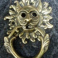 Exotic Ornate Feline head Brass Door Knocker