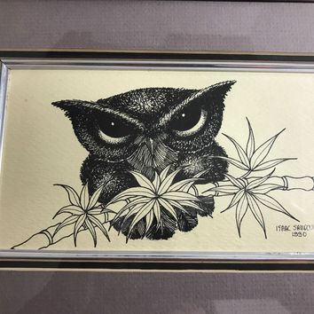 Vintage  Matted Framed Owl Pen  & Ink  Drawing Signed