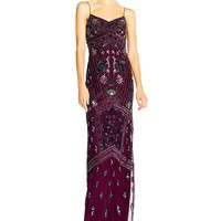 Adrianna Papell Floral Embellished Column Gown | Dillards