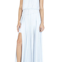 Jenine High-Slit Pleated Skirt Maxi Dress