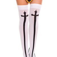 White Cross Print Stockings
