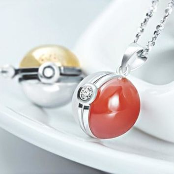 Pokemon Pokeball GS Ball Necklace 925 Sterling Silver  (Color: Red, Gold, Green, Black, Yellow, Blue)